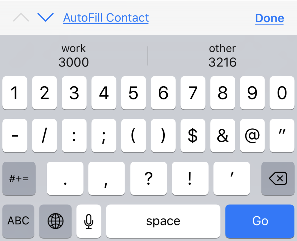 "When inputmode=""numeric"" iOS shows a helpful onscreen keyboard with keys for 1 through 0."