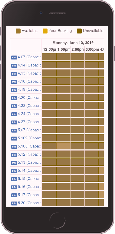 A simulation of the LibCal interface shows insignificant difference between colours used to indicate available, your booking, and unavailable cells.