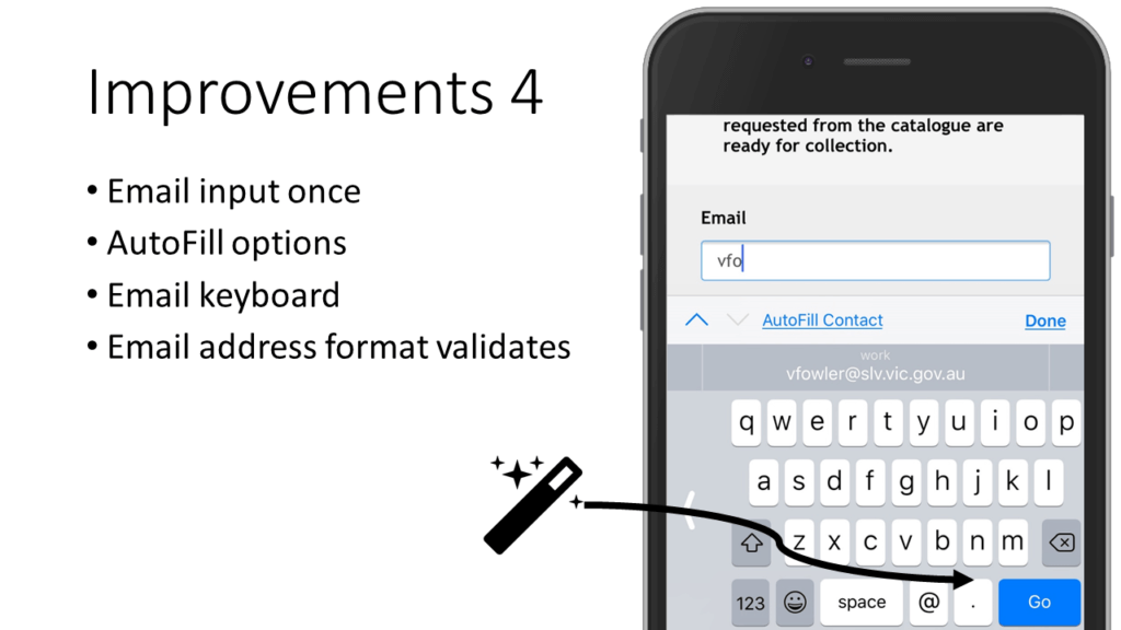 Mobile form improvements make email addresses easy to enter.