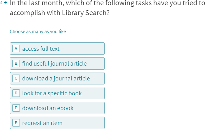 In the last month, which of the following tasks have you tried to accomplish with Library Search?