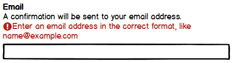 A symbol for an email input includes a label, hint, exclamation icon and validation message, as well as a full width input box.